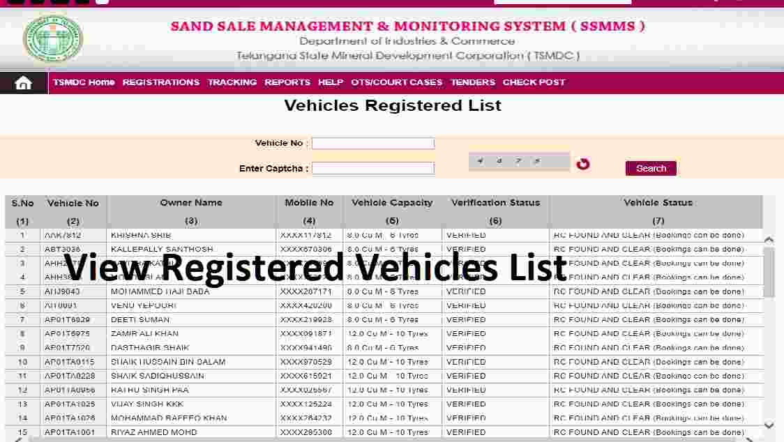 Check List of Registered Vehicles on Sand Booking TS