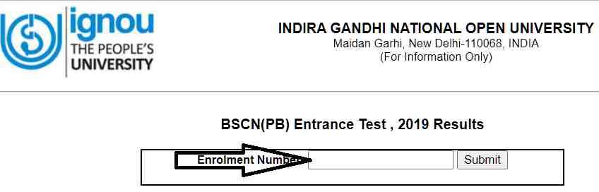 Enter Enrollment Number Admit Card of IGNOU