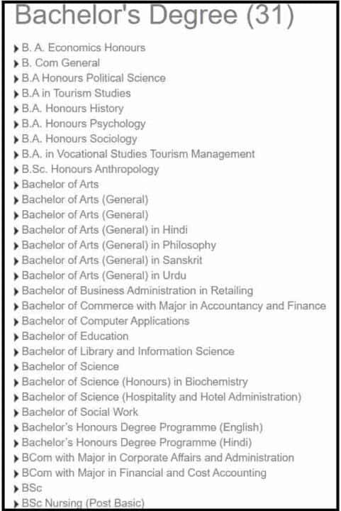 EGNOU Courses List