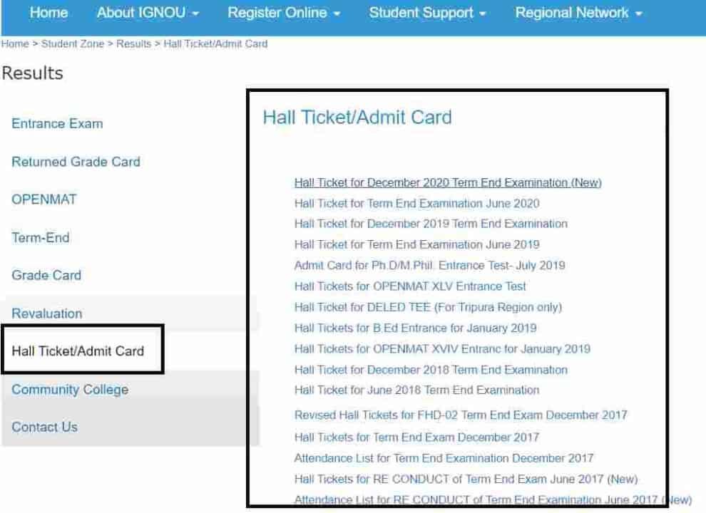 IGNOU Hall Ticket Admit card
