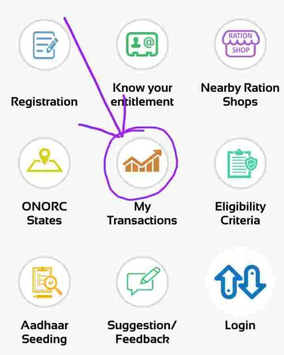 MY transaction Status Mer Ration Card