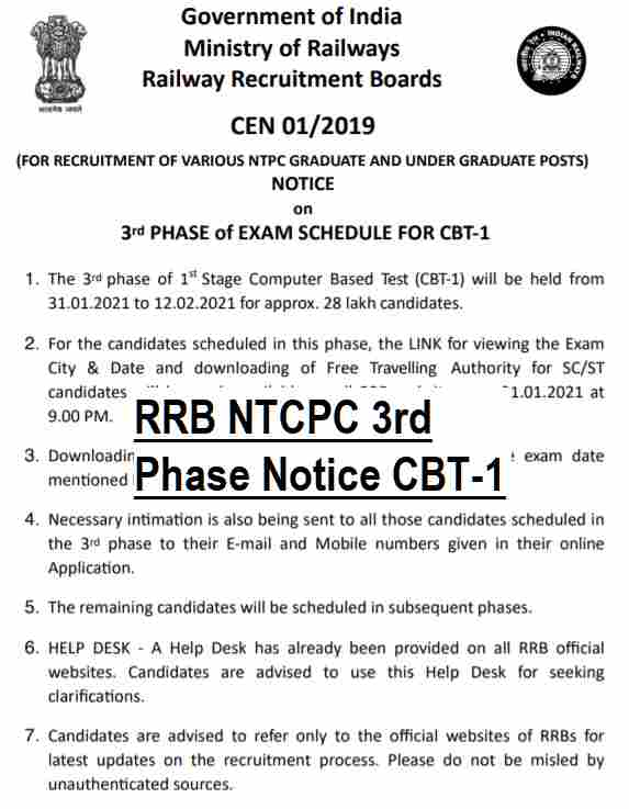 RRB NTPC CBT 1 Exam Call Latter