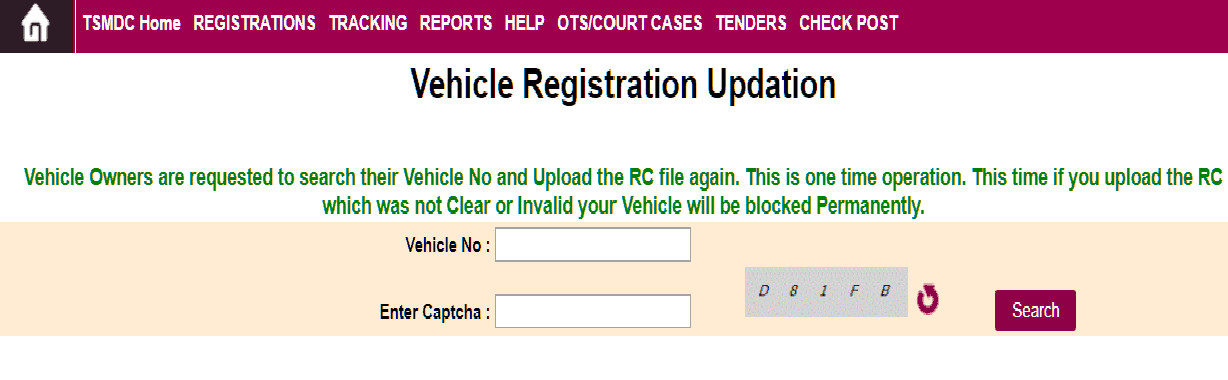 Vehicle Number Updation Sand Booking Telangana